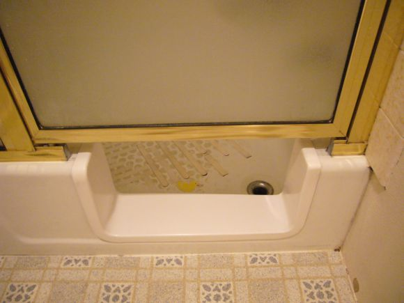 Bathtub Saddle Remodel for Safety—with Door and Splash Guard